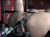 Busty white hot milf banged hard in the ass with a fuck machine