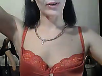 Russian cam lady with too pale small tits posed in her lacy stockings