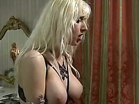 Busty and insatiable classic blondie pokes herself with sex toys