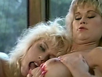 Curvaceous classic blonde milfs on the couch pleasuring each other