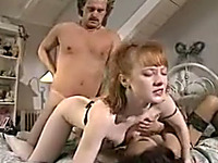 Insatiable and young Asian girl and pale skin milf having threesome