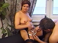 Filthy and chunky redhead German milf got her pussy shaved