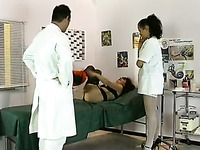 Chubby redhead milf and sexy nurse play with one guy