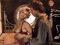 Blode white classic milf with big boobs greedily sucks dick of a young man