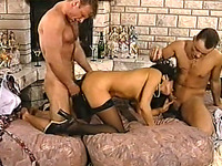 Gorgeous and wild German brunette milf fucked hard in FMM threesome