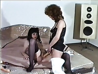 Redhead pale skin white lady fucks her girlfriend with a strapon