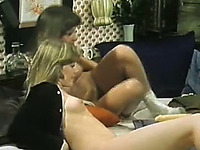 Naughty vintage young sluts trying out fuck machine