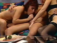 Two hot and horny white chicks share tall young man