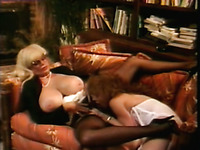 Marvelous mature blonde lady with huge tits receives cunnilingus