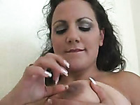 BBW mature woman licking her own nipples in solo clip