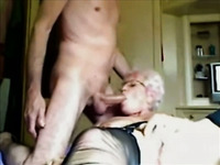 Mature pale blond haired bitch in black stockings was fucked doggy