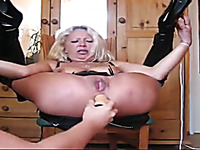 Trashy mature slut getting her ass hole stretched wide as fuck