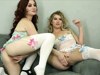 Lesbians Playing in Hot Lingerie and Stockings