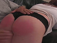 BBW white amateur milf woman lies on the laps and gets spanked