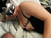 Masked light haired naughty wife in nightie was ready to tease my buddy