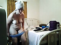 Hidden cam catches mature aunty changing after taking shower