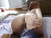Ardent red haired too pale webcam nympho was trying to push huge toy in