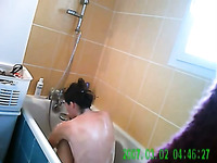 Spy cam video of my own horn-mad pale brunette GF washing her hair
