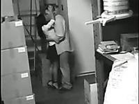 CCTV video of amateur brunette secretary riding my co-worker's cock