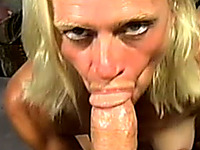 Old and wicked blonde bitch sucking fat cock on POV video