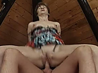 Short haired white granny blows dick and rides it on top