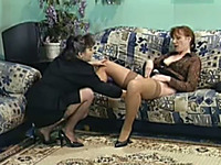 Nasty redhead and brunette cougars sharing three men for orgy