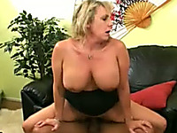 Incredible blonde granny bounces on a BBC in reverse cowgirl position