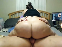 BBW wife riding big dick in a cowgirl position until I fill her vag with cum