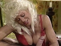 Insatiable and hot busty blonde cougar blows big white rod