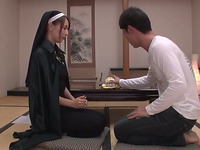 This lascivious Japanese nun wants me to play with her nipples