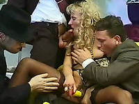 Marvelous and voracious blonde milf is sucking all dicks in the room