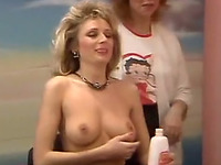 Gorgeous blonde milf babe with perfect natural breasts
