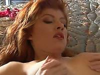 Mesmerizing redhead European hottie blows dick of her brutal friend