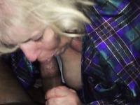 Blonde mature slut sucked my friend's massive black cock for cum