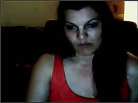 Ardent long haired brunette pale webcam slut in red lingerie exposed big tits