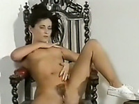 Stunning brunette hot babe with hairy pussy showing her privates