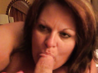 Mature woman sucking hard dick balls deep like thirsty bitch