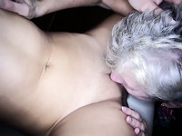 Young slut is getting it on with her old mature lesbian friend
