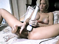 Using vibe blond haired MILF with big boobies wanted to please her slit