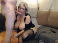 Short haired blonde MILF with big boobies loves being fucked doggy style