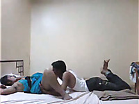 Skinny dark skin young man eats pussy of his curvaceous Indian girlfriend