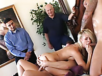 Stunning busty blonde wife gets dirty and wild on the bed with a bunch of men