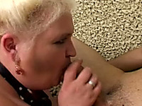 Mature and slutty BBW blonde woman blows dick of a young man