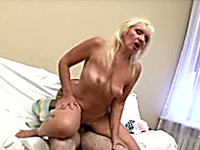 Insatiable mature blondie rides on a dick of her mature lover