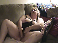 Such a good big breasted chubby blonde whore was masturbating herself