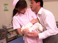 Pretty Japanese nurse gets naughty with a guy at her work place