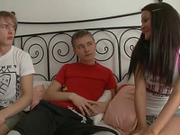 My buddy and me double penetrate a slim brunette in homemade MMF clip