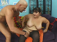 Real all natural wild BBW babe boned hard on the couch