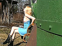 Marvelous all natural amateur blondie caught pissing in the garden