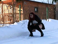 Sweet pale skin redhead Russian girl on the street squats and pisses